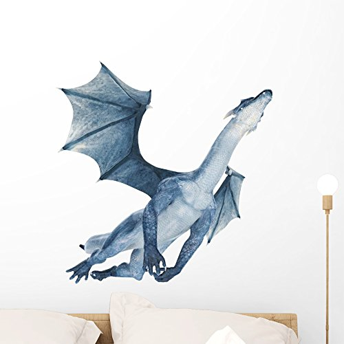 (Wallmonkeys WM204814 Blue Dragon Flying Out Peel and Stick Wall Decals (24 in W x 22 in H), Medium)