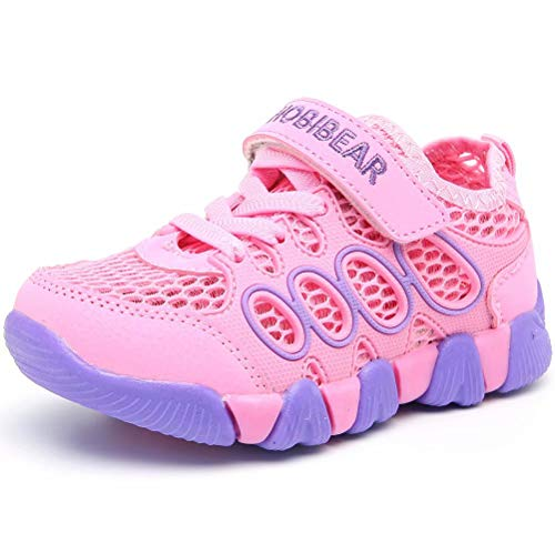 HOBIBEAR Girls Outdoor Strap Athletic Sneakers Running Tennis Shoes Pink