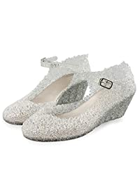 DeerYou Women's Wedges Jelly Sandals Summer Ankle Strap Crystal Heels Platform Mary Jane Shoe
