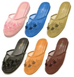 6 Pair Assorted Mesh Chinese Slippers- Size 7