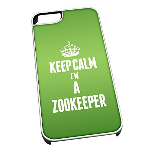 Bianco cover per iPhone 5/5S 2721verde Keep Calm I m A Zookeeper
