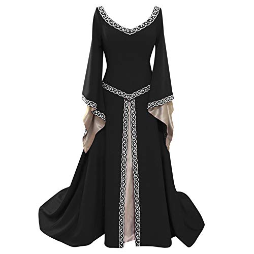 - Londony↪❤ Vintage Dresses for Womens Medieval Retro Style Solid Color Bell Sleeve Princess Dress Cosplay Dress Black