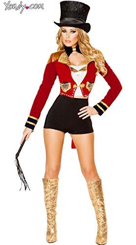Roma Costume Women's 6 Piece Seductive Circus Leader, Black/Red, Medium -
