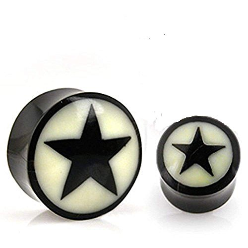 Covet Jewelry Star Inlay Organic Buffalo Horn Solid Saddle Fit Plug (1/2