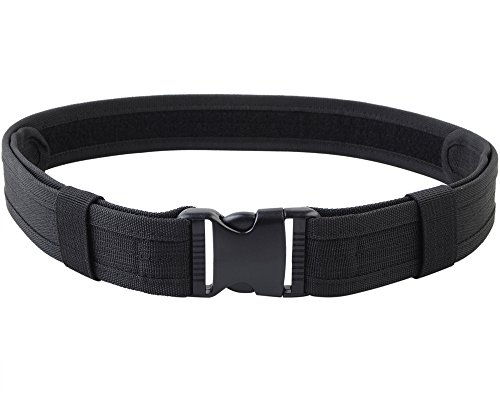 Men's Tactical Utility Web Belt 1.5'', Nylon Military Heavy Duty Belt with Hook & Loop Fastener and Quick Release Buckle (Black, Adjustable: 23.62'' – 40'')
