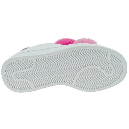 Lelli Kelly LK5826 (AA52) Bianco/Rosa Pon Pon Lace Up Trainer Shoes-30 (UK 12)