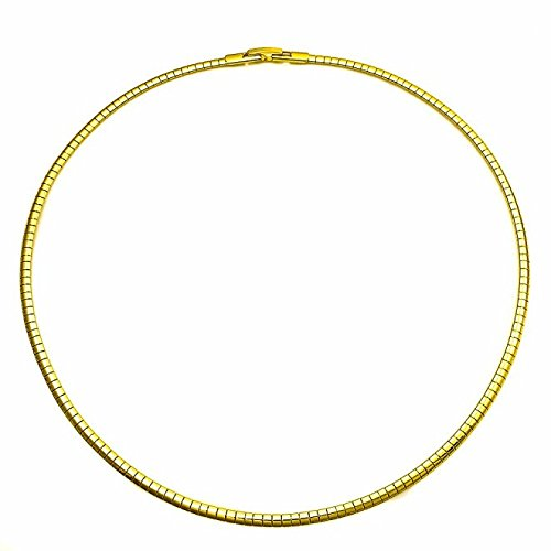 14K Gold Plated Omega Chain Necklace Choker 16 Inch 3 mm