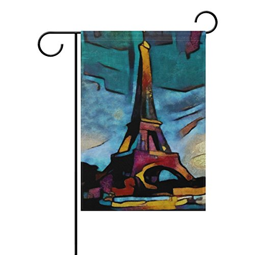 Naanle Paris Eiffel Tower Long Polyester Garden Flag 12 X 18