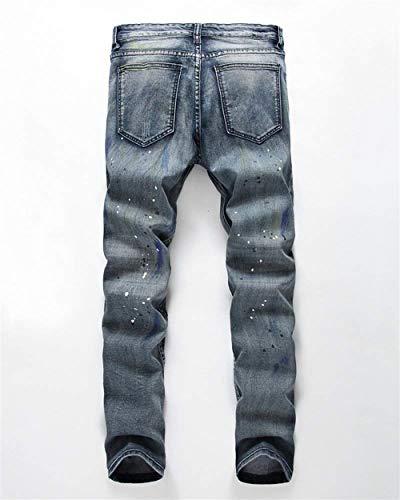 Strappati Alsbild Chiusura Decorazione Denim Taglio 88 Con Jeans Bobo Especial Da Di Uomo Estilo Dritto Pantaloni OpZwF6