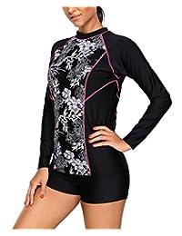 Mingnos Women's Plus Size Surfing Printing Rash Guards Swimsuit