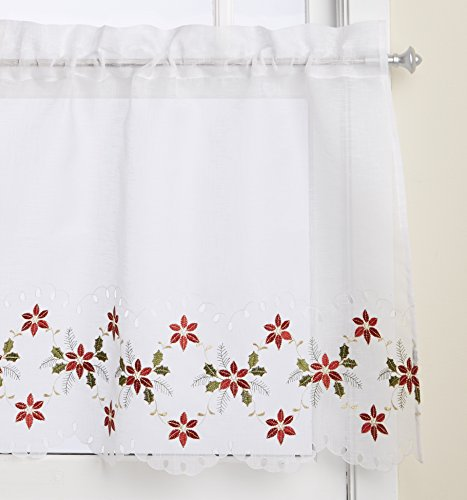 ns Poinsettia Cutwork Tier Curtain Pair, 56 by 24-Inch ()