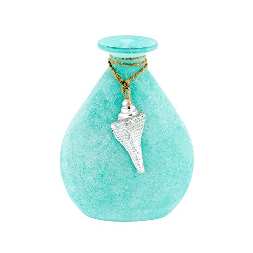Beachcombers Frosted Turquoise Tear Shaped Seashell 5.5 x 7.5 Inch Glass Decorative Bottle
