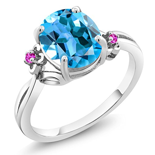 2.74 Ct Oval Swiss Blue Topaz Pink Sapphire 925 Sterling Silver Ring (Size 8)