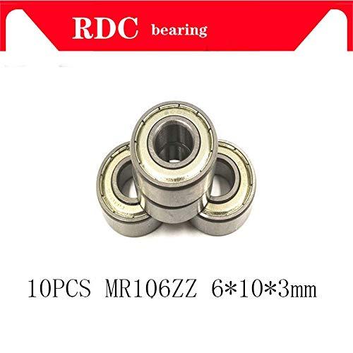 Outer Diameter: MR106 2RS, Inner Diameter: ABEC 5 10 Fevas 10PCS MR106ZZ MR106 Bearing 6 3 mm Miniature MR106 ZZ Ball Bearings L1060ZZ MR106Z 106 6X10X3 MR106 2RS
