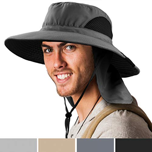 SUN CUBE Boonie Hat with Neck Cover Flap, Wide Brim   Outdoor Fishing, Hiking, Beach, Summer Bucket Hat   UPF 50+ Sun Protection   Packable Breathable Men, Women Sun Hat (Grey)
