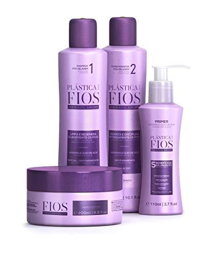 Cadiveu - Home Care Line - Plastica Dos Fios Hair Smoothing Set: Smoothing Shampoo (300ml), Smoothing Conditioner (300ml, Hair Treatment Mask (200ml), Hair Primer (110ml). (set of 4)