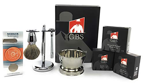 GBS Shaving Gift Set with Merkur Safety Razor, Bowl, 3Pk GBS Natural Shaving Soap - Bayrum/Sandalwood/Driftwood, GBS Badger Brush, Stand and Safety Razor