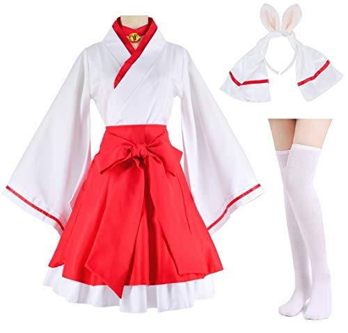Japanese Anime red and White Kimono Fox Cosplay Costume with Socks Size L(Asia XL) -