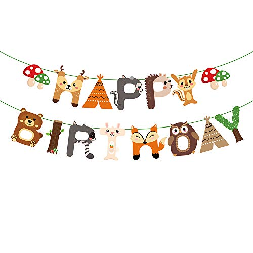 Happy Birthday Party Animal - Woodland Creatures Happy Birthday Banner Woodland Forest Animal Garland for Birthday Party Supplies Baby Shower Decor