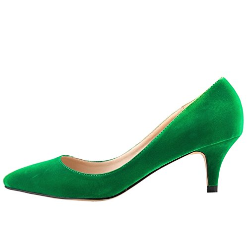 Velvet Green Pointed Kitten Low Faux Toe Women's Pumps Classic Heel OFq5wBH