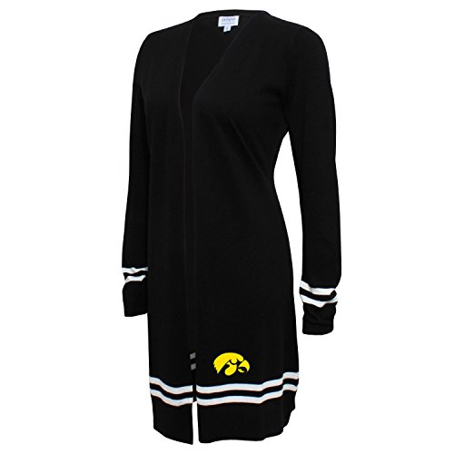 NCAA Iowa Hawkeyes FeWomen's Campus Specialties Long Open Cardigan, Black, X-Large