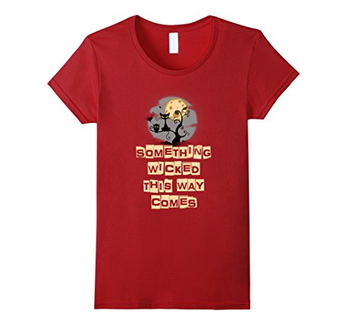 Womens Something Wicked This Way Comes Halloween Bookworm T-shirt XL Cranberry