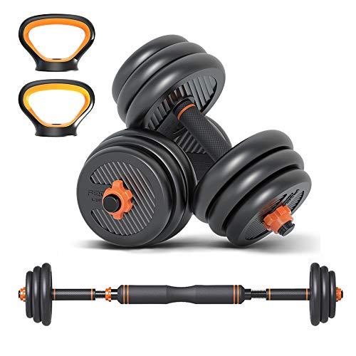 6 in 1 Set Kettlebell & Halters & Barbell, Set van 40 kg Verstelbare Dumbbell Gewichten, vier Fitnessmodi, Perfect voor…
