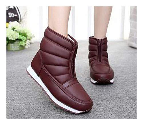 (Tebapi Mens Backpacking Boots Men Winter Shoes Waterproof Non-Slip Men Snow Boots Platform Warm Ankle Boots Men Work Shoes Plus Size 36-45 Red 4.5)