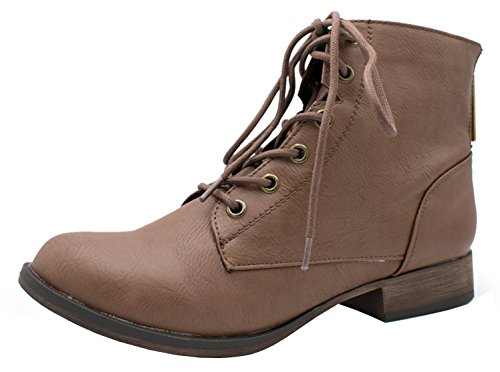 Breckelles Womens Georgia-43 Faux Leather Ankle High Lace Up Combat Boots Light Brown x5MlyM0