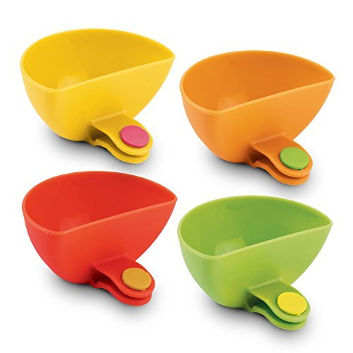Dipping Plate Set (Dip It! Condiment & Sauce Dipping Bowls with Plate Clips Ð Set of 4)