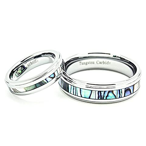 Matching 5mm & 7mm Tungsten Carbide Abalone Shell Inlay Wedding Bands (See listing for sizes) (Abalone Inlay Band Ring)