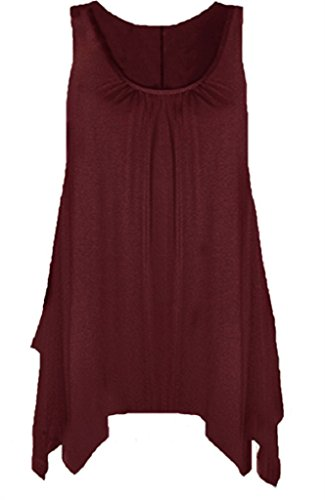 Boutique - Camisa sin mangas para mujer, con dobladillo y acampanada, disponible en tallas grandes Wine