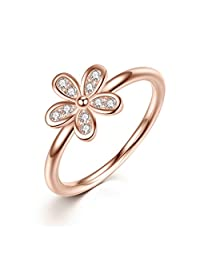 The Kiss Dazzling Daisy Rose Golden 925 Sterling Silver Stackable Ring, Clear CZ