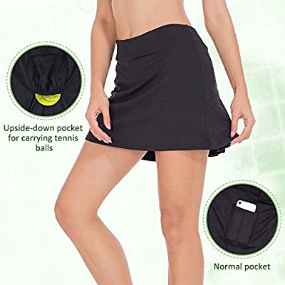 ZEALOTPOWER Tennis Skorts for Women Golf Skirts with Pockets Athletic Sports Running Active at Women's Clothing store