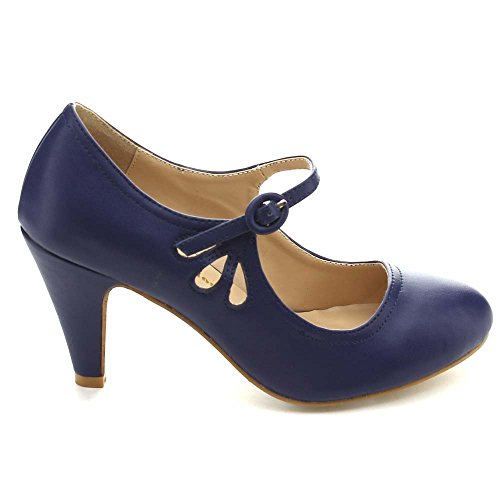 Kimmy Heel Blue Pumps Jane Style 21 Women's Pierced Toe Dress Mid Mary Navy Round Chloe Chase amp; AfEqww1