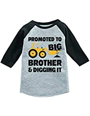 Tstars Tractor Promoted to Big Brother 3/4 Sleeve Baseball Jersey Toddler Shirt