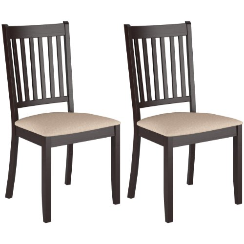 CorLiving DAT-295-C Atwood Stained Dining Chairs with Microfiber Seat, Cappuccino, Set of 2 (Cappuccino Finish Slat Design)