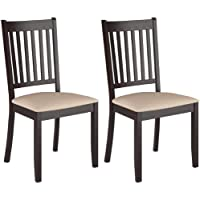 CorLiving DAT-295-C Atwood Stained Dining Chairs Microfiber Seat, Cappuccino, Set of 2