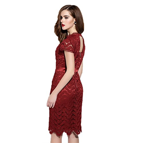Red Dress Hollow Hip cotyledon Dresses Package Women`s Body Out Con TxPzHFwqf
