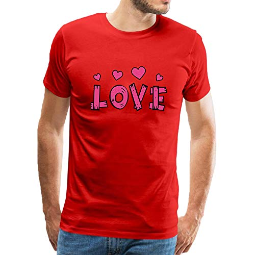 (Men's Short Sleeves Cotton T-Shirts Creative Love Heart Fashion Designer Casual Blouse Tops Red)