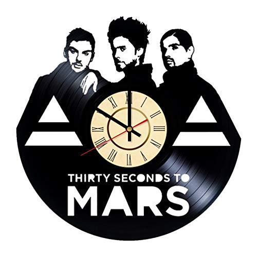 Jared Leto Band Vinyl Clock Great Gift for Thirty Seconds to Mars Fans Rock Music Wall Decor American Singer Home & Living Room ()