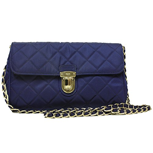 Prada Royal Blue Tessuto Pattina Quilted Nylon Leather Chain Shoulder Bag BP0584 (Prada Handbag Blue)