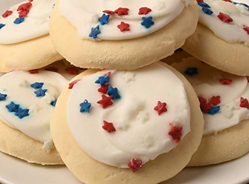 Frosted Cookies Sugar - Red White & Blue 4th of July Cookies Frosted Sugar Cookies - (3) 13.5 oz, Packs. 10 Cookies Per Pack.