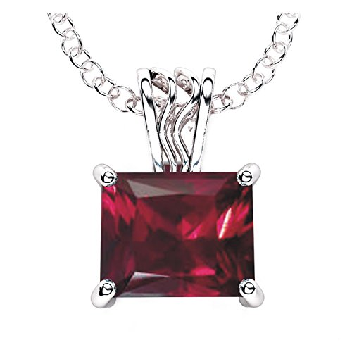Solid Sterling Silver 4 Carat Baguette Lab-Grown Ruby Necklace with 17.5 Inch Anchor Chain for Women, HighPolished Pendant Necklace