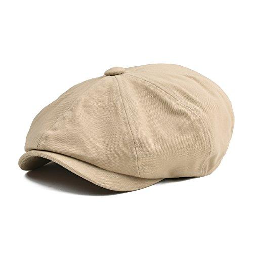 BOTVELA Men 8 Panel Newsboy Cap Light Washed Cotton Canvas Gatsby Retro Golf Hat