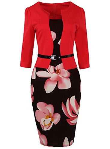 Women 3/4 Sleeve Plus Size Business Pencil Church Dress Knee Length,Red,2XL