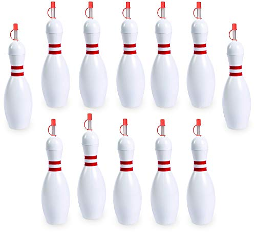 Bulk Bowling Pin Sipper Cups, Pack of 12, Holds 24 Ounces, Great Drinking Birthday Party Accessory, Summer Carnival Supplies, Blowing Pin Bottle, By 4E
