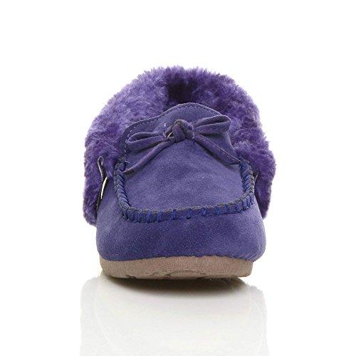 Womens Ladies Faux Sheepskin Fur Luxury Flexible Sole Winter Moccasins Slippers Shoes Size Purple nRjakdz