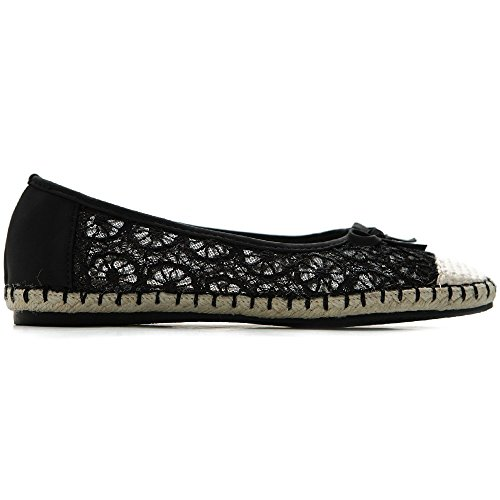 Ollio Breathable Flat Black Shoe Ribbon Floral Lace Women's Ballet 6rw7qx6g