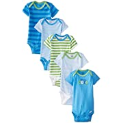 Gerber Baby-Boys 5 Pack Onesies, Car and Stripe, Newborn